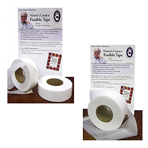 Marti Michell Fusible Tape – 1-Inch Wide 60 Yards, 2-Inch Wide 30 Yards, Single-Sided, White (Sided Fusible Batting)