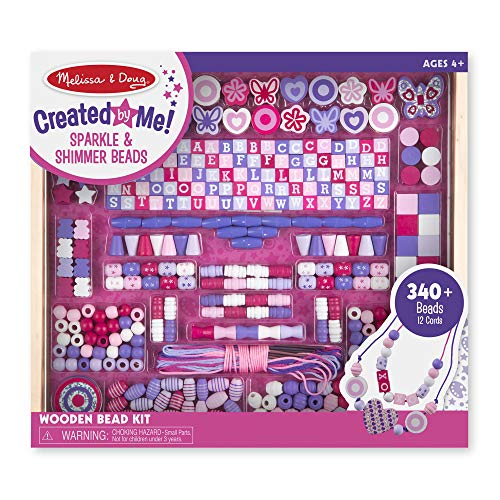 Melissa & Doug Deluxe Collection Wooden Bead Set With 340+ Beads for Jewelry-Making ()