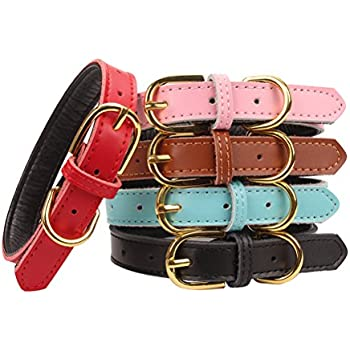 Aolove Basic Classic Padded Genuine Leather Pet Collars for Cats Puppy Small Medium Dogs (Pink, Small) by AOLOVE