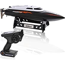 SereneLife Wireless 2.4 ghz Remote Control RC Speed Boat Toy with Throttle Controlled Speed, Alarm Sys, Rechargeable Battery, Cooling System, USB Charger & Storage Stand - For outdoor pool - SLRBT10