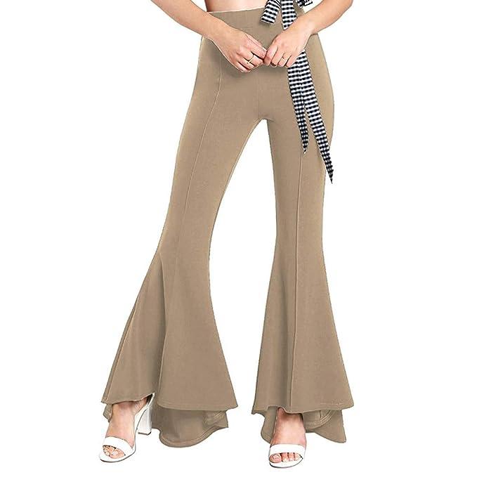 Volantes Alto Iwemek Pantalones Mujer Palazzo Para De Talle Con H9DIE2YbeW