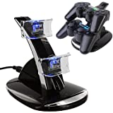 HDE Black 2 Port Charging Dock Station USB Hub Power Stand for PS3 Dual Shock Wireless Controller
