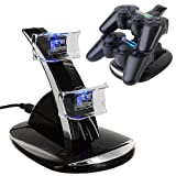 HDE Playstation PS3 Controller Charger LED Docking Station Power Stand 2 Port USB Charging Hub for Sony PS3 Dual Shock Wireless Controllers (Accessory)