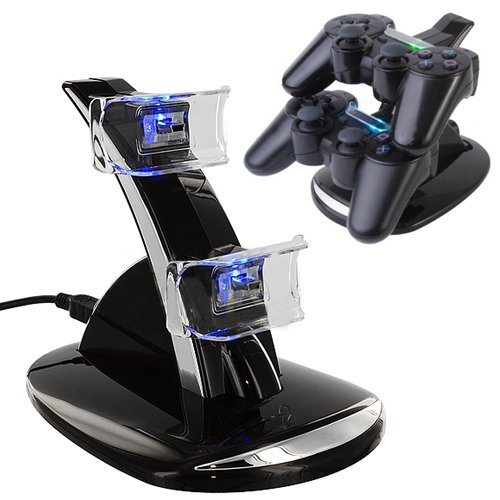 HDE LED Black Dual Controller Charging Stand Station for PS3 Controller with 2-Port USB Hub