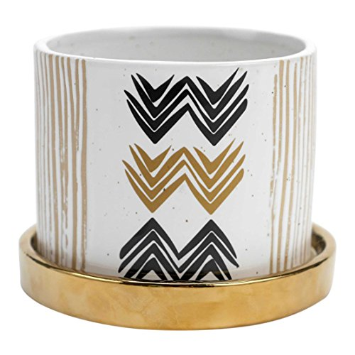(FLOOR | 9 Chevron Planter with Removable Gold Tray)