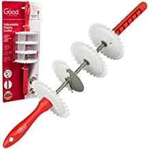 Adjustable Pastry Wheel Cutter w 4 Interchangeable Fluted, Lattice, and Straight Slicers and 7 Width Adjustments
