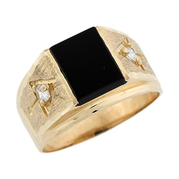 10k-Real-Gold-White-10x8mm-Rectangular-Simulated-Birthstone-Mens-Ring