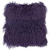 Purple Throw Pillows SLPR Mongolian Lamb Fur Throw Pillow Cover (20'' x 20'', Purple) | Real Fur Decorative Cushion Cover Pillow Case for Living Room Bedroom