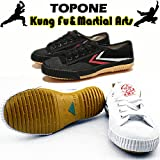 T.O.P ONE Kung Fu Martial Arts Parkour Shoes,Rubber Sole Sneakers-White 42(Men 9|Women 11)