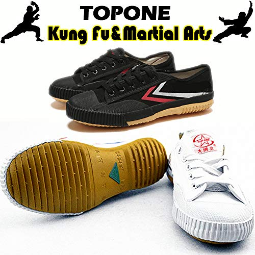 T.O.P ONE Kung Fu Martial Arts Parkour Shoes,Rubber Sole Sneakers-White 35(Child 4)