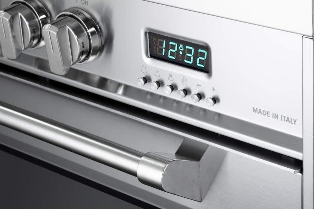 Verona Designer Series VDFSEE365SG 36 Inch 5.0 Cu Ft Electric Range Oven 5 Burners Dual Center Element Smoothtop Black Ceramic Cooktop Convection Matte Slate Gray