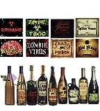8 Flaschen Etiketten für Halloween