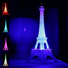 Romantic Table LED Lamp Colorful Eiffel Tower Nightlight Party Cake Topper Bedroom Living Room Decoration Best Birthday Gift for Children Kids 10inch