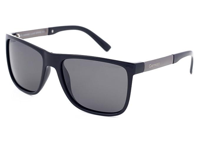 Gafas de sol polarizadas de estilo moderno, color gris, con marco de plástico negro