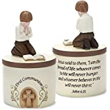 First Communion Praying Boy John 6:35 Resin Stone 5 inch Keepsake Box