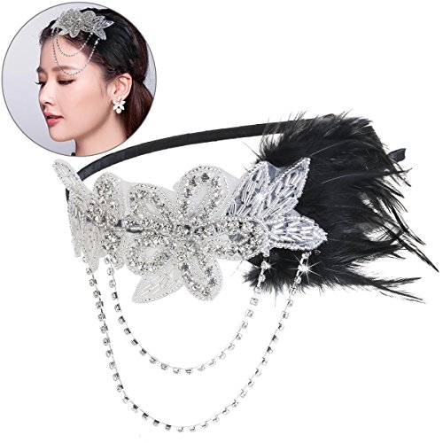 Pixnor 1920s Flapper Great Gatsby Headpiece Headband with Feather Vintage Black