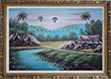 Framed Oil Painting 24''x36'' Hawaii Vacation with Palm Trees Village Naturalism Ornate Frame