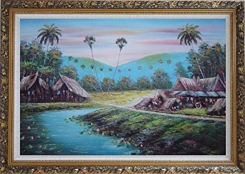 Framed Oil Painting 24''x36'' Hawaii Vacation with Palm Trees Village Naturalism Ornate Frame by BeyondDream