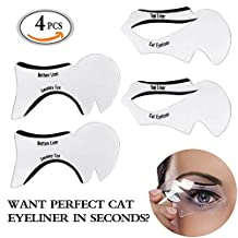Travelmall 4PCs Stencils For Perfect Cat Eyeliner And Smoky Eyes Eyebrows Template Card Makeup Tool Stencil for The Perfect Winged Cat Eyeliner. (SOFT) by Travelmall