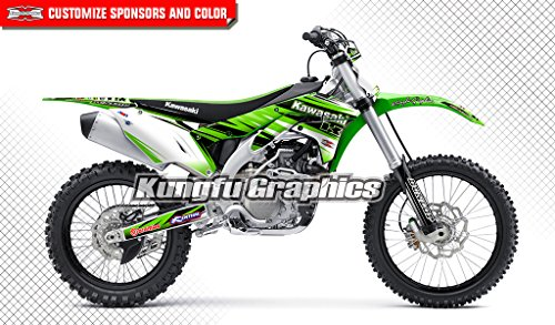 (Kungfu Graphics Custom Decal Kit for Kawasaki KX450F KXF450 2016 2017, Green White Stripes)
