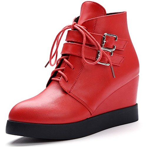 LongFengMa Women's Wedge Heel Lace Up Buckle Zipper Ankle Boots Red