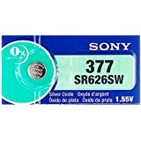 Sony 377 (SR626SW) 1.55V Silver Oxide 0%Hg Mercury Free Watch Battery (2 Batteries)