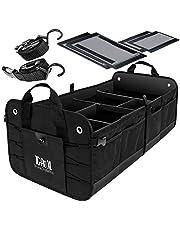 TrunkCratePro Premium Multi Compartments Collapsible Portable Trunk Organizer for auto, SUV, Truck, Minivan (black)