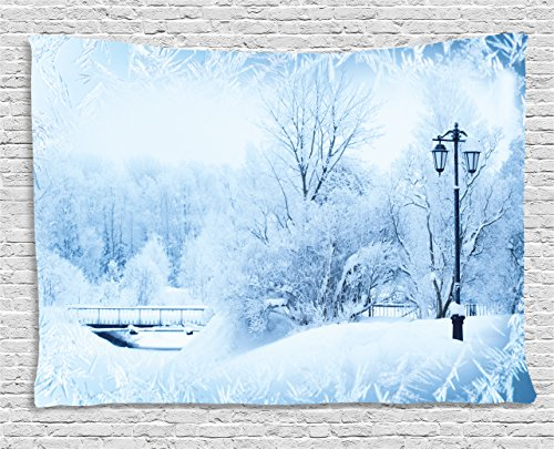 Ambesonne Winter Tapestry, Winter Trees in Wonderland Theme Christmas New Year Scenery Freezing Icy Weather, Wall Hanging for Bedroom Living Room Dorm, 80 W X 60 L (Winter Wonderland Backdrop Ideas)
