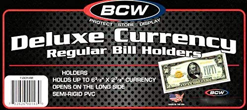(25) Deluxe US Currency Paper Money Bill Holder Protectors for Regular Bills by BCW