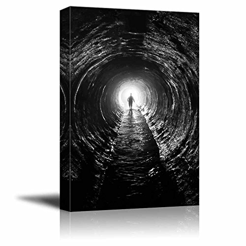 Silhouette in a Communication Tunnel with Light at End of Tunnel Concept of Hope Perseverance Success