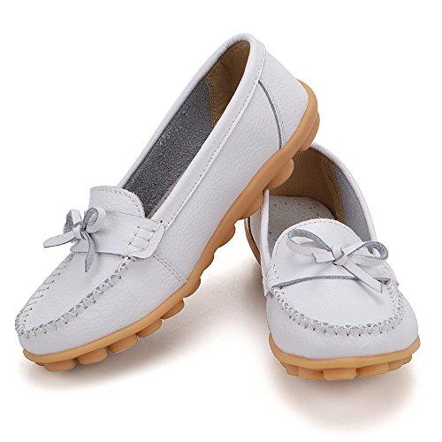 Earsoon Loafers Schuhe für Frauen Leder - Handwerk 2018 Frühjahr neue exklusive Serie Slip On Loafers Damen Penny Schwarz Comfort Walking Flat Loafers Weiß