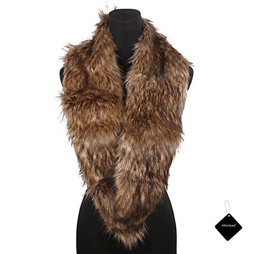 xhorizon FL1 Women's Faux Fur Collar Scarf Wrap Shawl Shrug 1920s Feather Boa Gatsby Flapper Accessories