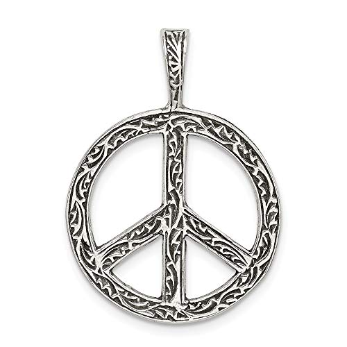 (Mireval Sterling Silver Antiqued Peace Sign Charm)