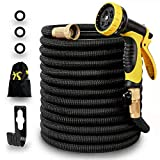 Panda Grip 75ft Garden Water Hose,Expandable and Flexible Strongest Triple Later Core with 3/4 Solid Brass Fittings,10 Function Spray Nozzle,3750D Fabric for Watering Garden,Cleaning