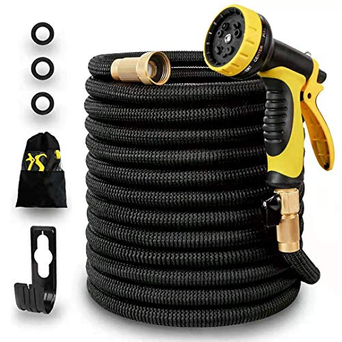 Panda Grip [Updated 3750D 75ft Garden Water Hose Expandable and Flexible Strongest Triple Latex Core with 3/4 Solid Brass Fittings 10 Function Spray Nozzle 3750D Fabric for Watering Garden Cleaning