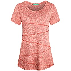 Kimmery Womens Running T Shirt, Beautiful Athleisure Cami Yoga Tunic Crew Neck Short Sleeve Rib-Front Round Hem Fast Drying Skinny Fitness Tops for Jogger Marathon Camping Orange Red X Large