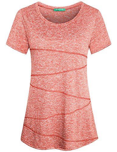 Loose Training Top - Kimmery Training Shirts for Women, Petite Exercise Blouses for Juniors Teen Girls Colorful Crew Neck Short Sleeve Seamless Stiching Slimming Form Fitting Activewear Versatile Orange Red Medium