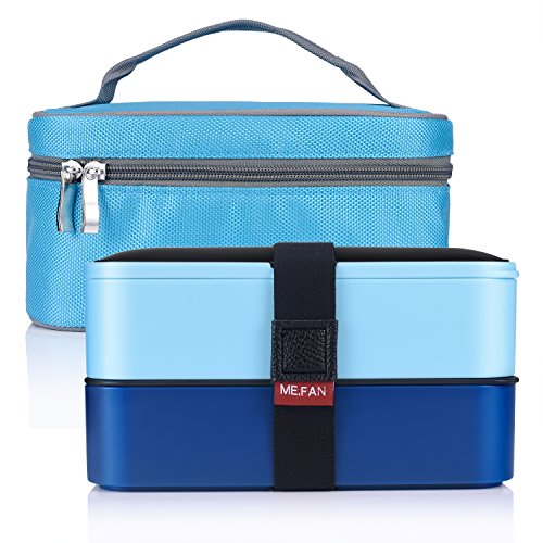 ME.FAN Leakproof Bento Lunch Box With Insulated Bag And Cutlery, All-in-one Stackable Food Container 42oz/1200ml - Deep Blue / Light Blue