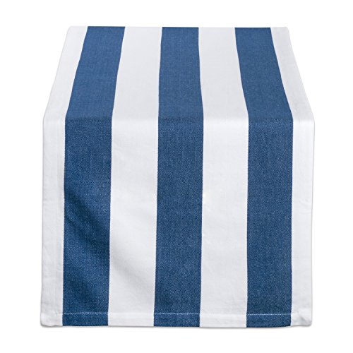 DII 100% Cotton, Machine Washable, Classic Table Runner For Dinner Parties, Events, Decor 18x108 - Navy & White Cabana (Dining Room Outdoor Folding Table)