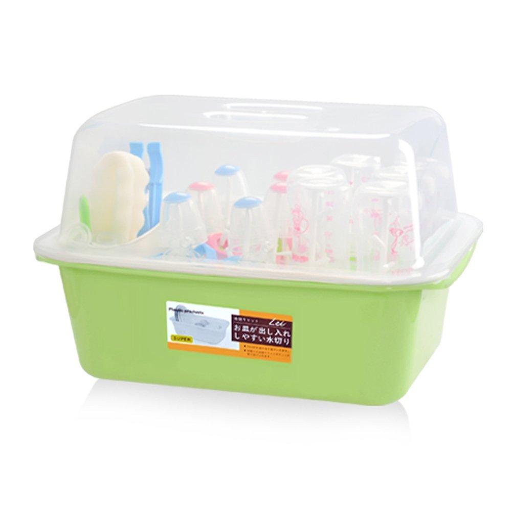 OLizee Baby Bottle Drying Racks with Anti-dust Cover Large Nursing Bottle Storage Box Baby Dinnerware Organizer, Green