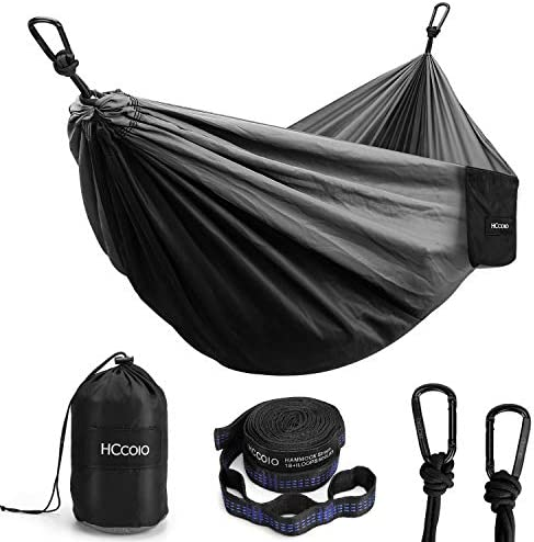 HCcolo Camping Hammock Portable Indoor Outdoor Tree Hammock with 2 Hanging Straps 10FT , Lightweight Nylon Parachute Hammocks for Backpacking, Travel, Beach, Backyard, Hiking- Support 550lbs