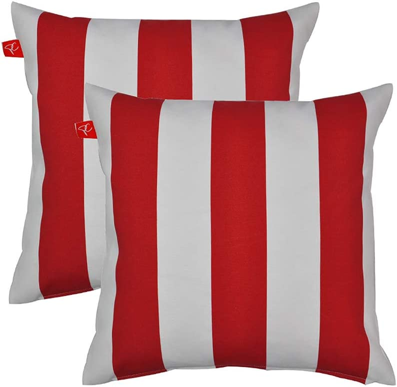 Amazon Com Pcinfuns Patio Indoor Outdoor Stripe Red And White Throw Pillow Cushion Cover Decorative Replacement Cushion Case Square 18 X 18 Set Of 2 Home Kitchen