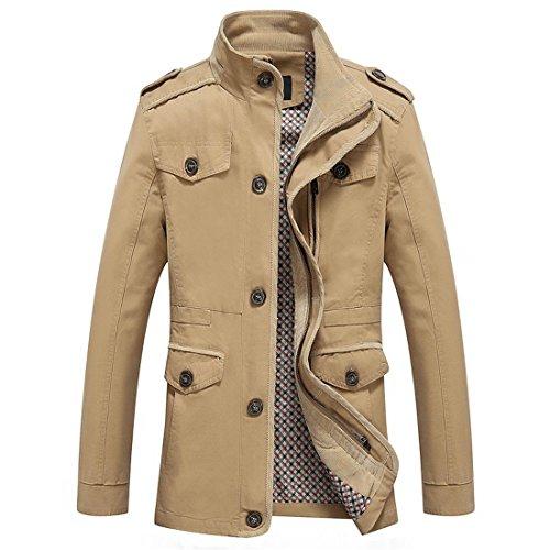 Susanny Men's Fashion Casual Long Sleeve Jacket Cotton Stand Collar Windbreaker L Dark Khaki