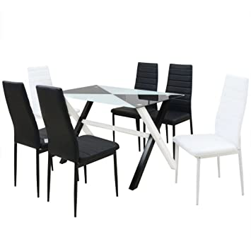 SHENGFENG Conjunto de Mesa de Comedor Negro y Blanco,5 Piezas ...