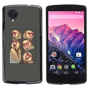Estuche Cubierta Shell Smartphone estuche protector duro para el teléfono móvil Caso LG Google Nexus 5 D820 D821 / CECELL Phone case / / ape monkey sketch drawing grey animal /