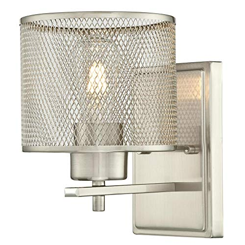 Westinghouse Lighting 6327800 Morrison One-Light Indoor Wall Fixture, Brushed Nickel Finish with Mesh Shade, Brushed Nickel Indoor Wall