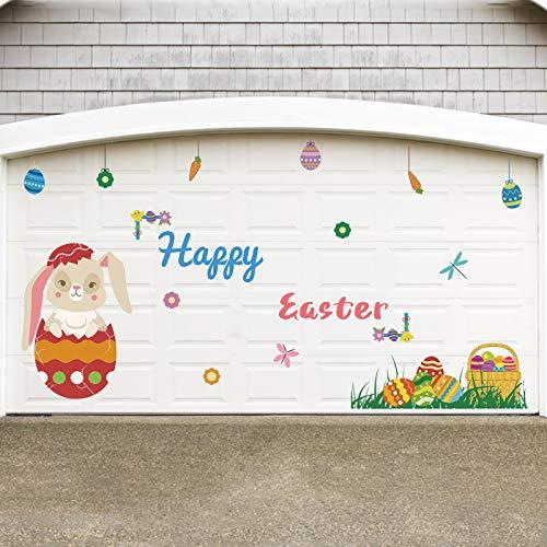 Rtudan Easter Decorations-Bunny Garage Door Decorations Easter Garage Archway Car Party Decor Balcony Decorate Window Decoration for Easter Supplies…