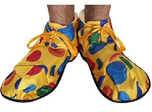 [OVERSIZED CLOWN SHOES COVER CIRCUS YELLOW POLKA DOTS FANCY DRESS ACCESSORY] (Hen Night Costume Accessories)