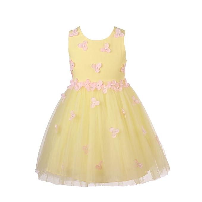 Super Cute Vestido Elegante Boda Fiesta con 3D Flores para Niña Vestido Blanco de Princesa para