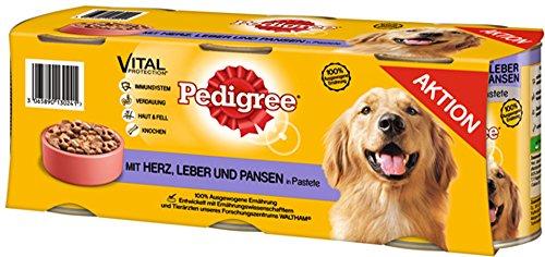Pedigree Hundefutter Herz, Leber und Pansen in Pastete, 4 Packungen je 3 Dosen (4 x 3 x 800 g)